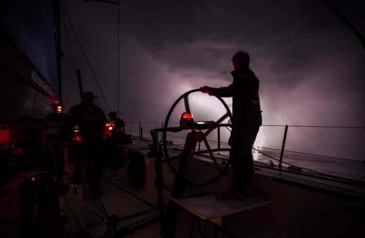 2014-15, VOR, Volvo Ocean Race, Onboard, Leg8, night, weather, lightening, stern, helm, silhouette