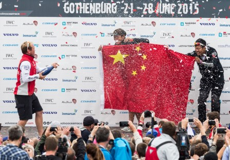 2014-15, VOR, Volvo Ocean Race, Prize giving, Gothenburg, stage, Inport, crowds, Dongfeng Race Team