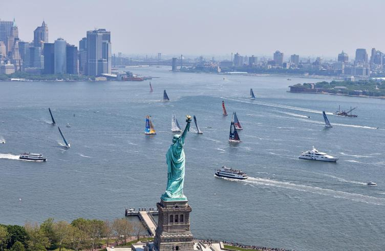 05-2016, DAY, OUTSIDE, NEW YORK CITY, USA, JOUR, NEW YORK, SINGLE HANDED, IMOCA, MONOHULL, OCEAN MASTER, MANHATTAN, NEW YORK-VENDEE, Currency House NY-Vendee Charity race, heli