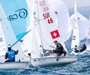 470 M, CLASSES, Olympic Sailing, SUI 46 36 Kilian Wagen (M) Gregoire Siegwart 470 Men, Sailing Energy, World Cup Series Hyeres, World Sailing