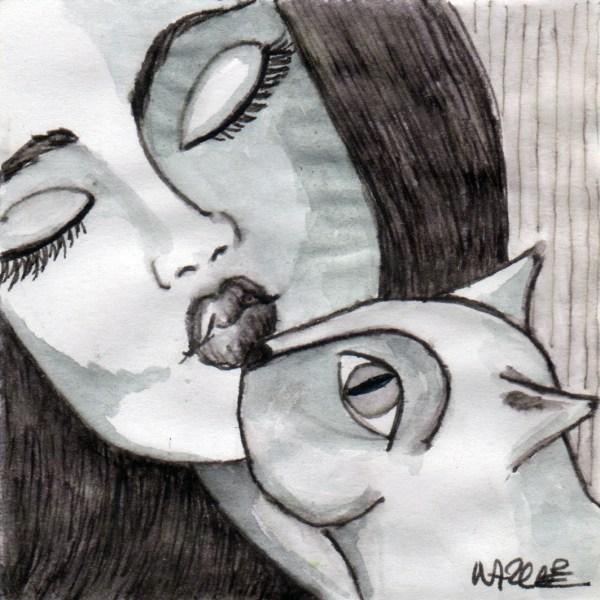 chat cat femme woman bisou kiss