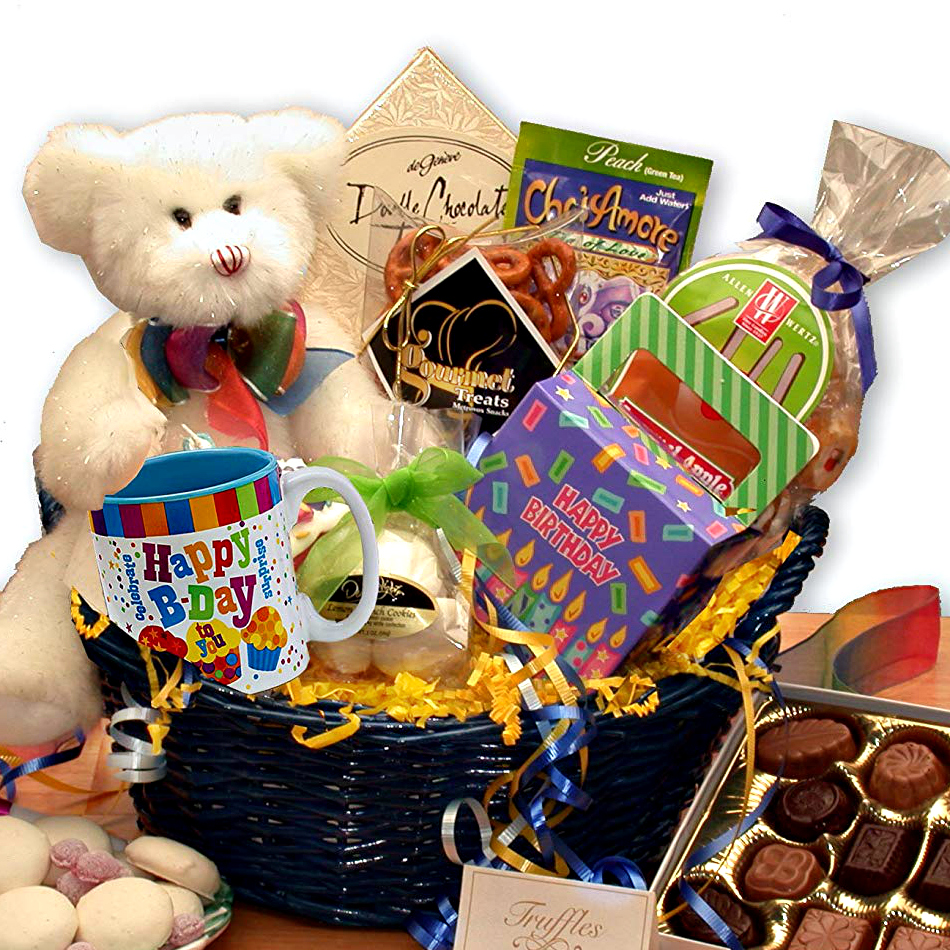 Birthday-themed gift basket. Foods. Candies. & More
