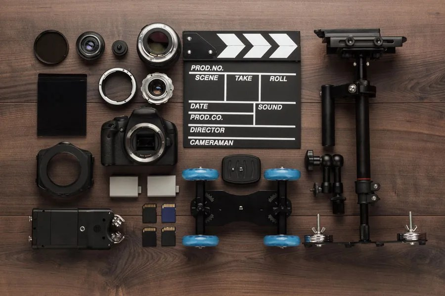 Flatlay image of essential gear for videography