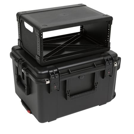 skb iseries case with removable 4u injection molded rack cage tsa latches and wheels waterproof 13 rack depth