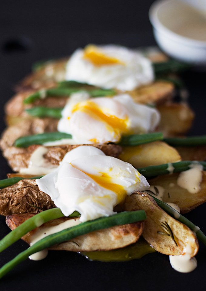 Roasted Fingerling Potatoes With Poached Eggs And Mustard