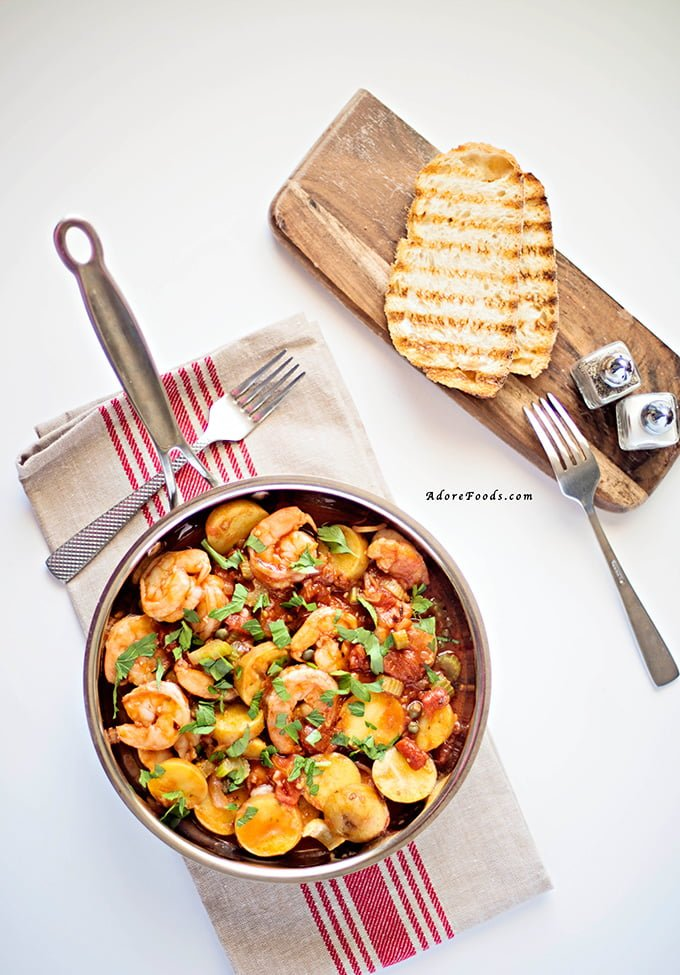 One Pot Shrimp, Tomato and Potato Stew