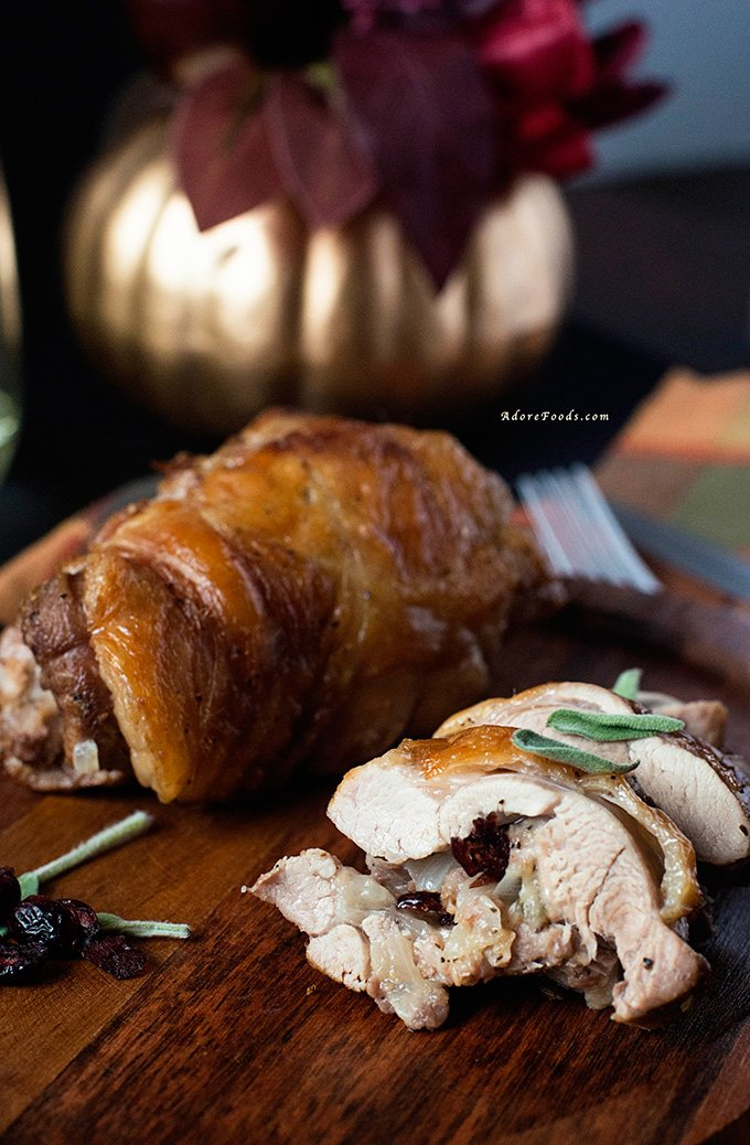 Roasted Turkey Thighs Stuffed with Dried Cranberries Thanksgiving