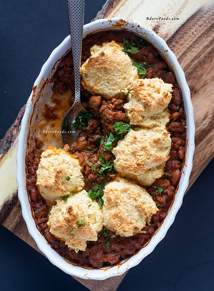 One pot chili con carne with polenta cobbler crust