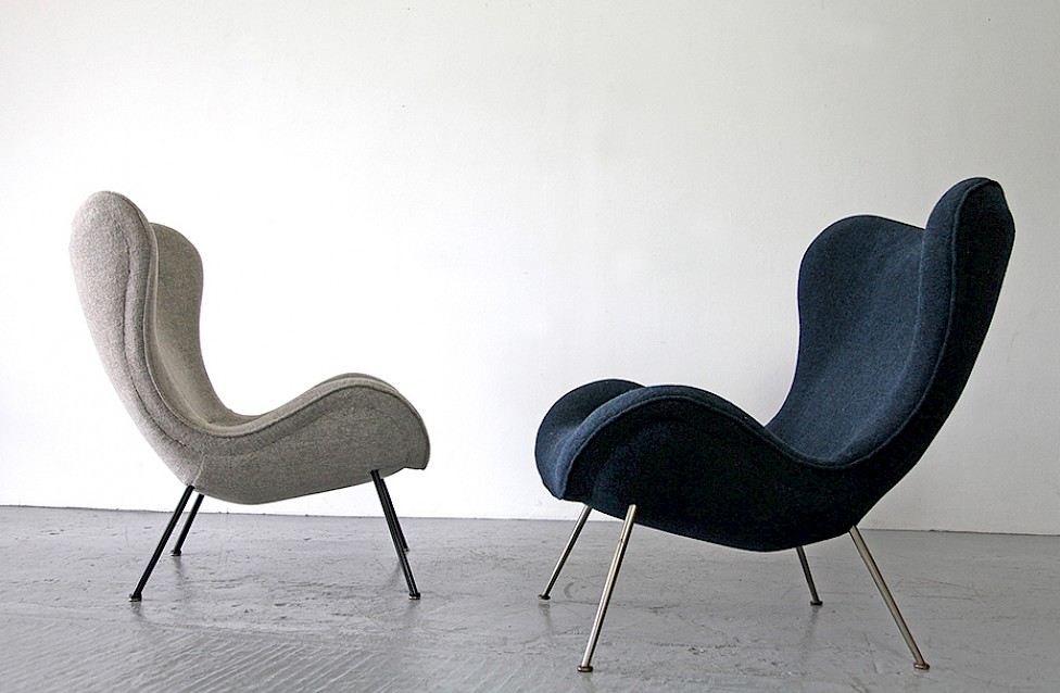 leather lounge chair with ottoman sleeping in office by fritz neth, 1950 - adore modern