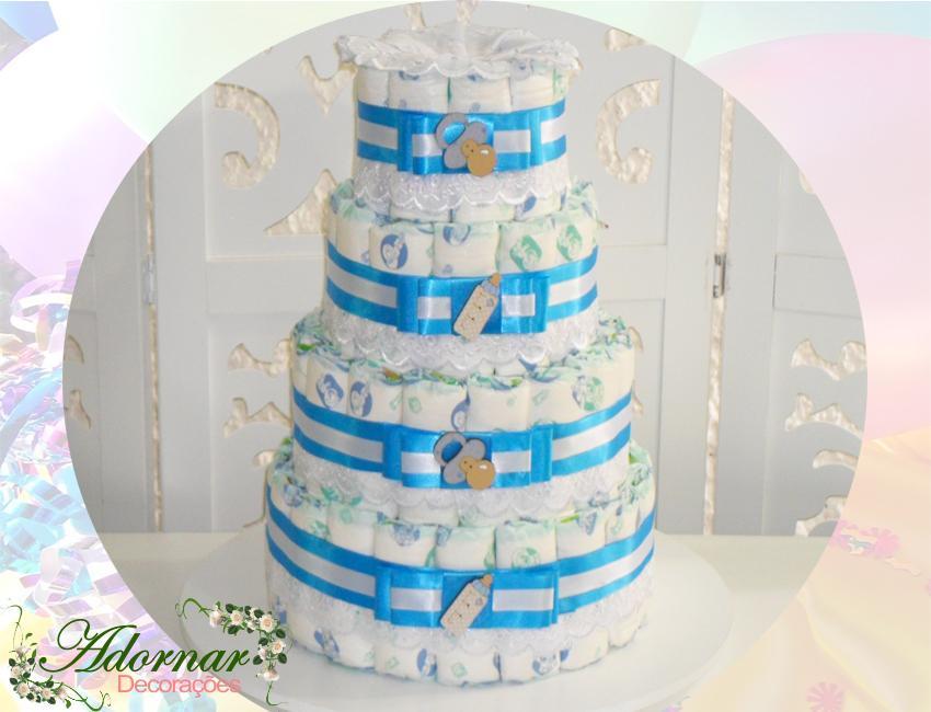 locação bolo fraldas chá de bebe azul e branco menino