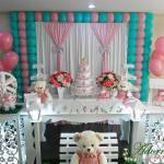 Aluguel Decoração Chá de Bebê Menina Verde Tiffany e Rosa