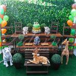 Aluguel de Decoração do Safari Mesa do Bolo Rústica