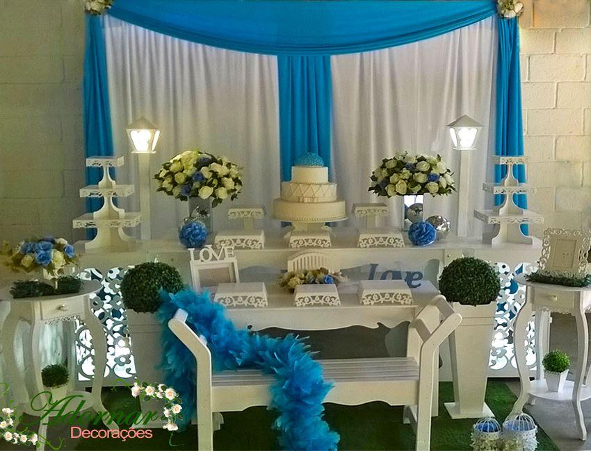 Decoração Casamento Azul Turquesa e Branco