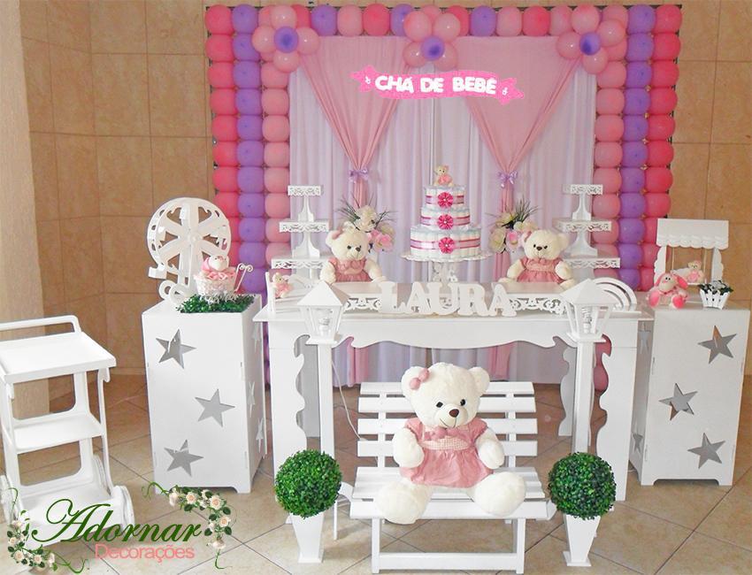 Decoração Chá de Bebê Ursa Lilás e Rosa