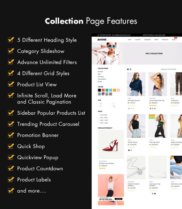 Collection page features