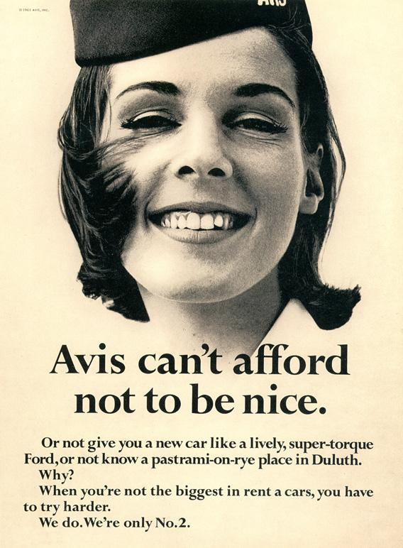An advert from Avis featuring the We try harder tagline