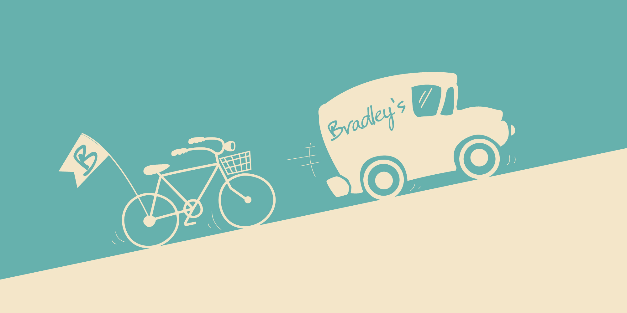 Bradleys Supermarket delivery illustration for the store.