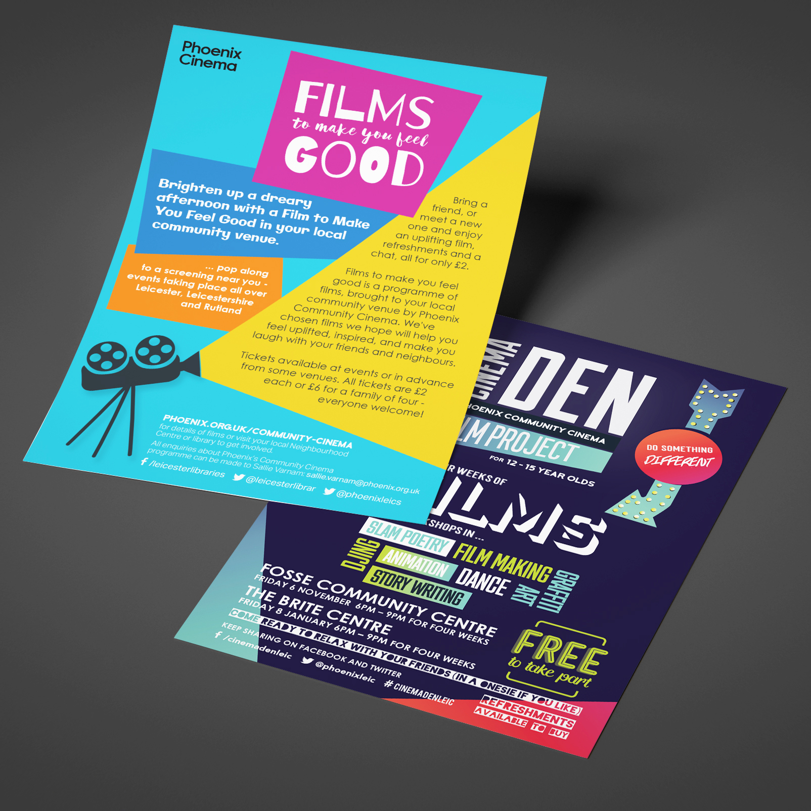 Two leaflets for Phoenix cinemas; films to make you feel good and cinema den.