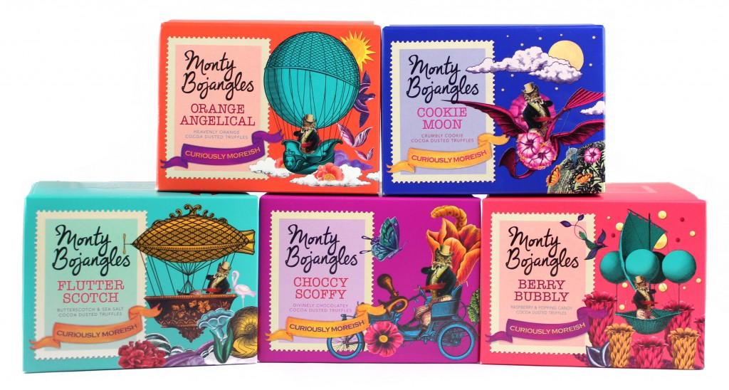 Collage illustration style for Monty Bojangles, chocolate truffles