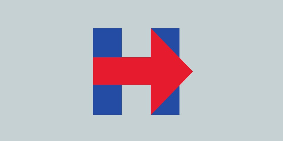 Hillary Clinton's campaign logo - the race for the white house.