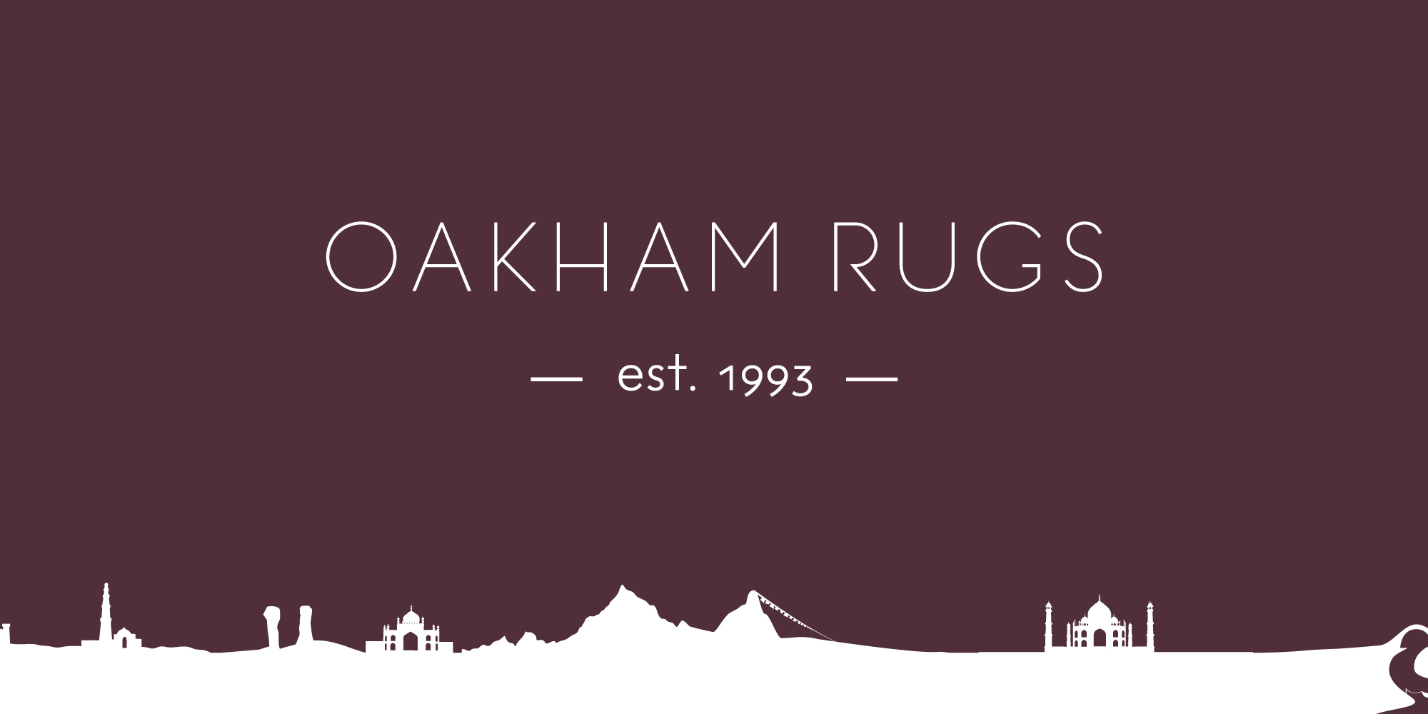 Oakham Rugs brand; logo and scene from Persia and the middle east along the bottom of the image.