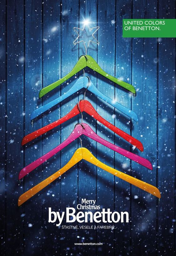 Christmas advert for United colours of Benetton - bright colours and a sprinkling of snow.