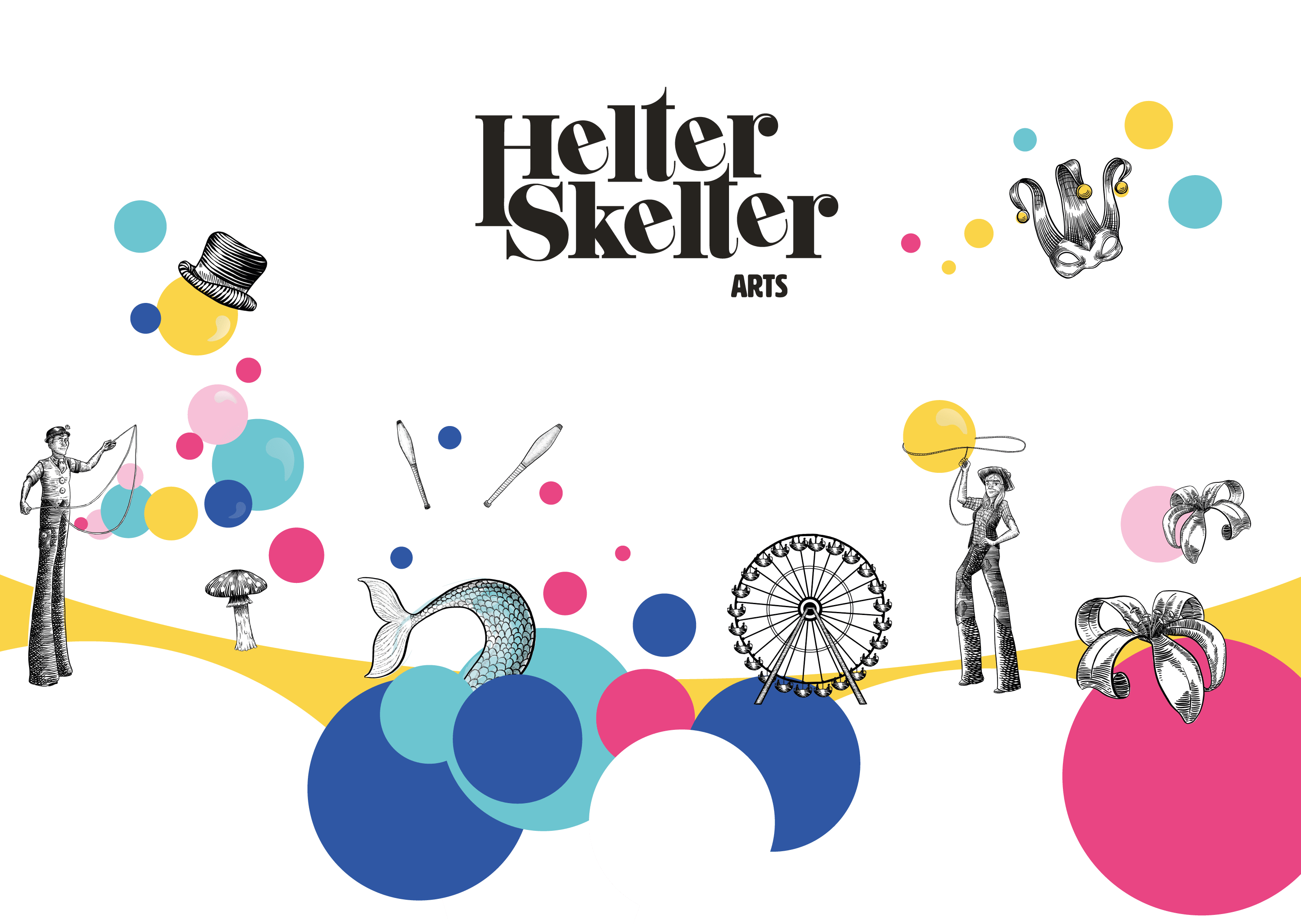 Helter Skelter brand including bubbles of colour and circus illustrations