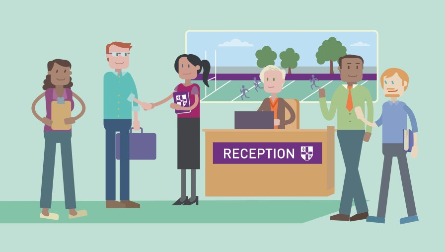 Illustration by a dozen eggs for Loughborough University, of a student joining a higher education course