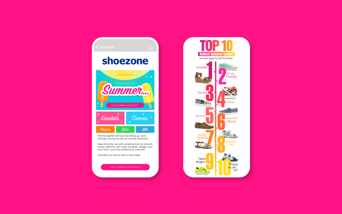 Email graphics for Shoe Zone - highlighting the Top 10 summer looks.