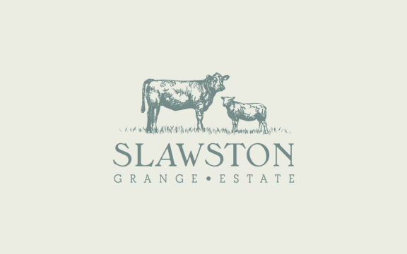 Brand identity and design for Slawston Grange Estate including ilustrations of Aberdeen Angus steers and pedigree Lleyn ewes.