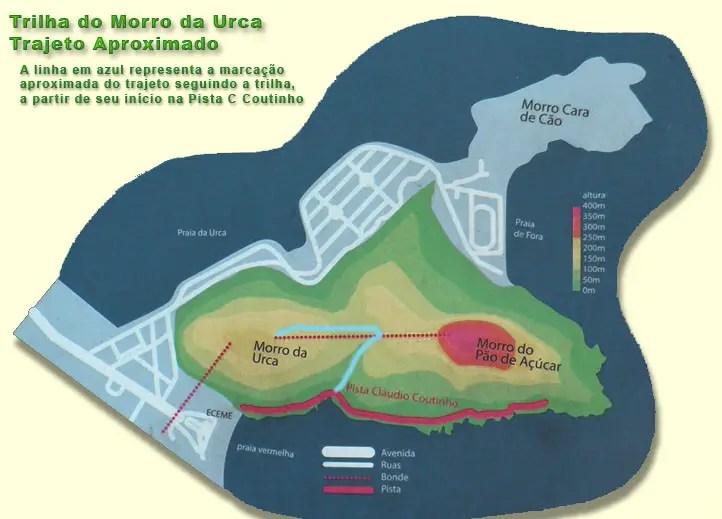 Mapa Trilha do Morro da Urca - Praia Vermelha - Rio de Janeiro