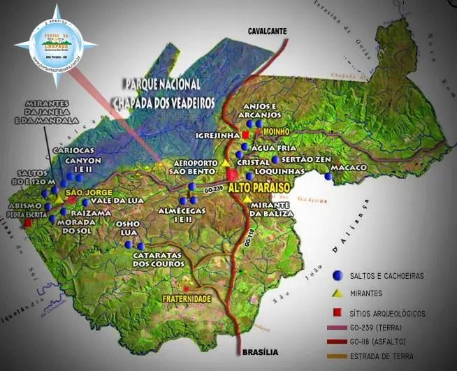Chapada dos Veadeiros - Mapa das Cachoeiras