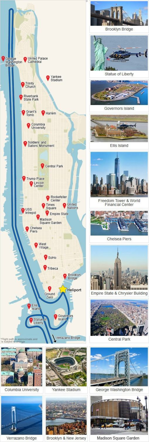 nyc helicopter rides map
