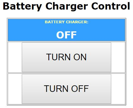 The battery charger control webpage