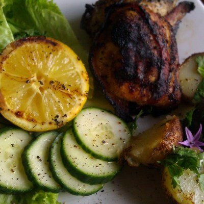 Grilled Chicken Bacon Medallions and Potatoes