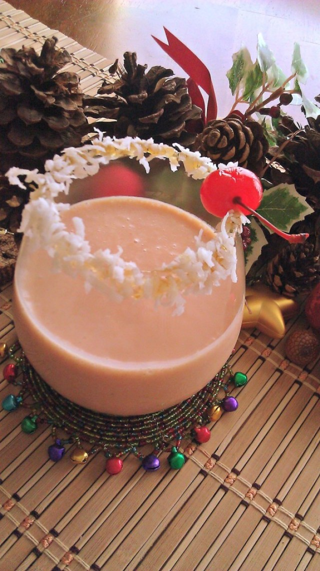 Holiday cocktail with natural guava and coconut