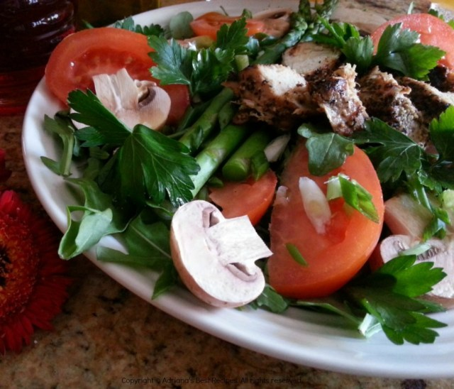 Grilled Turkey Tenderloin Mushroom Salad with Greens and Steamed Asparagus #ABRecipes