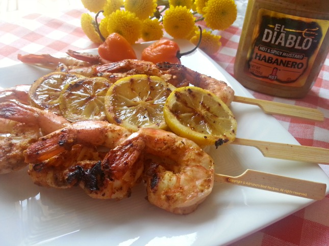 Finger Licking Grilled Tiger Shrimp Kebabs with El Diablo Habanero Mustard #ABRecipes