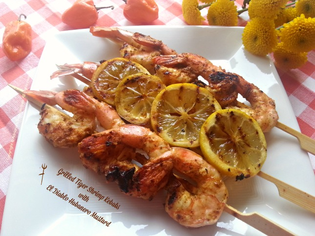 Grilled Tiger Shrimp Kebabs with El Diablo Habanero Mustard #ABRecipes