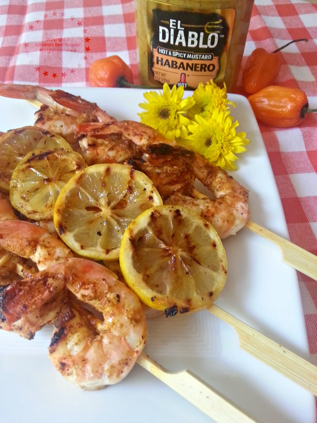 Tangy Grilled Tiger Shrimp Kebabs with El Diablo Habanero Mustard #ABRecipes