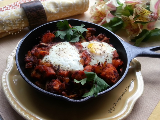 Spicy Sweet Potatoes Casserole with Fresh Farm Eggs