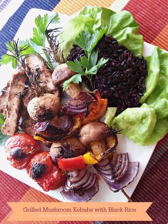Grilled Mushroom Kebabs with Black Rice