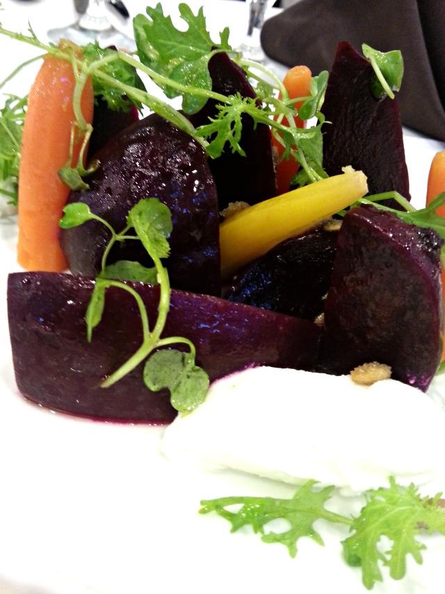 Beet carrot burrata salad