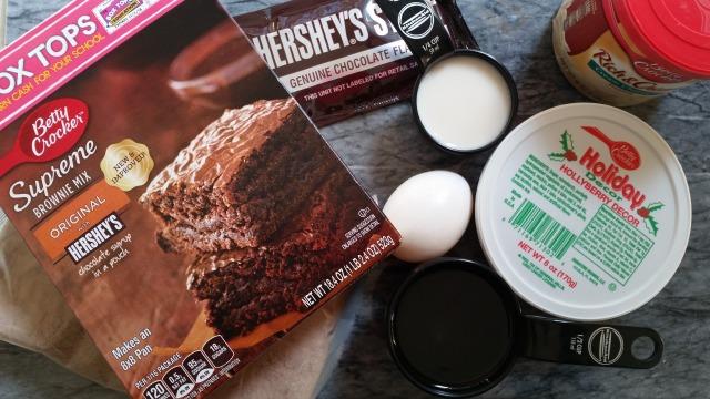 Ingredients for preparing the Holiday Brownies #PlatefullCoOp #ad