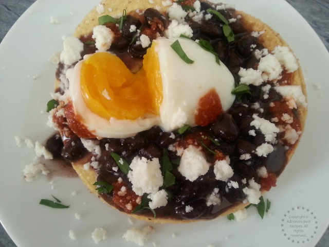 Perfect Egg Tostadas a perfect dish for breakfast lunch or dinner #SousVideSupreme #IFBC #ad