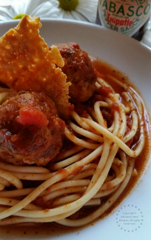 Chipotle Spaghetti and Meatballs favorite holiday party recipe for game day  #SeasonedGreetings #ad
