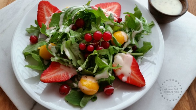 Fresh Arugula Salad with Seasonal Fruits for a romantic dinner for two #FoodieBeMine #ABRecipes