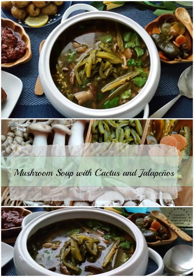 Mushroom Soup with Cactus and Jalapeños
