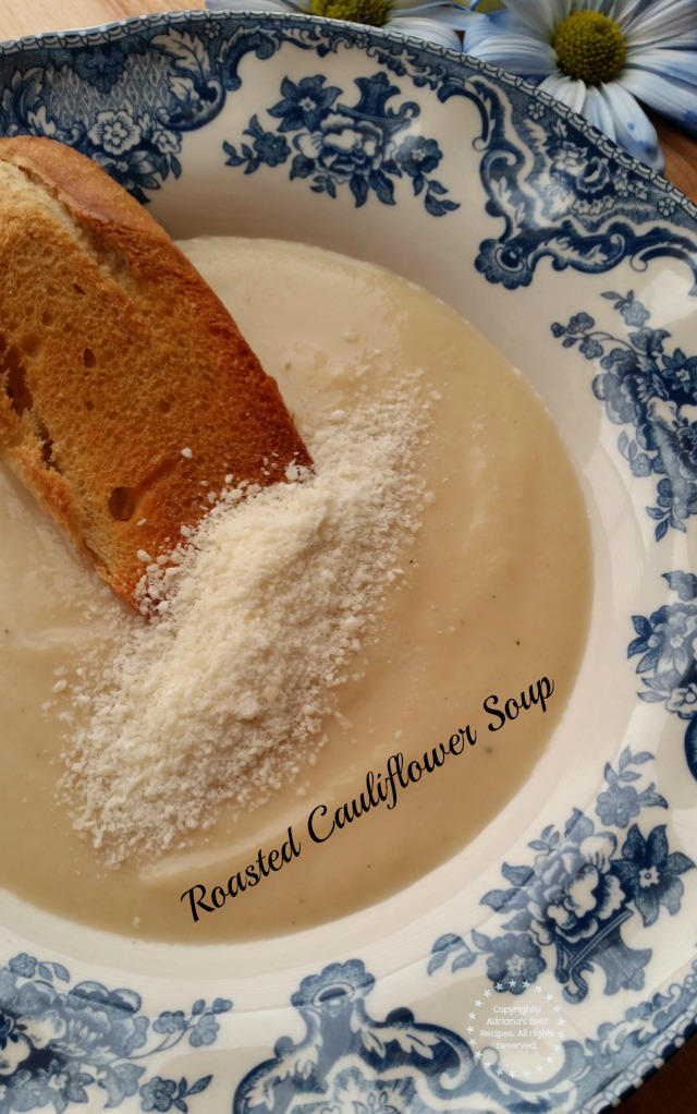 Roasted Cauliflower Soup perfect vegetarian option for meatless Friday #LentenRecipes #ABRecipes