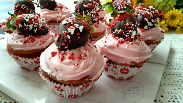 Strawberry chocolate cupcakes made with fresh from Florida strawberries